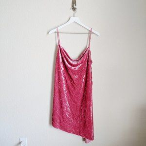 ASOS Pink Velvet Cowl Neck Dress NWT